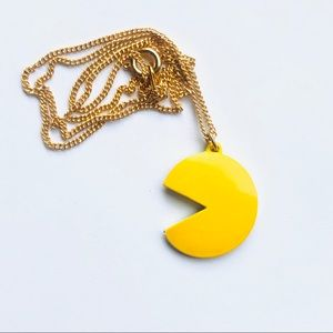 Jewelry - Vintage 1980 Pac-Man Pendant Necklace Gold